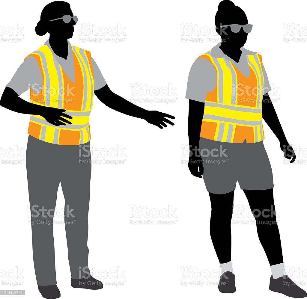 Traffic Police Silhouettes vector art illustration