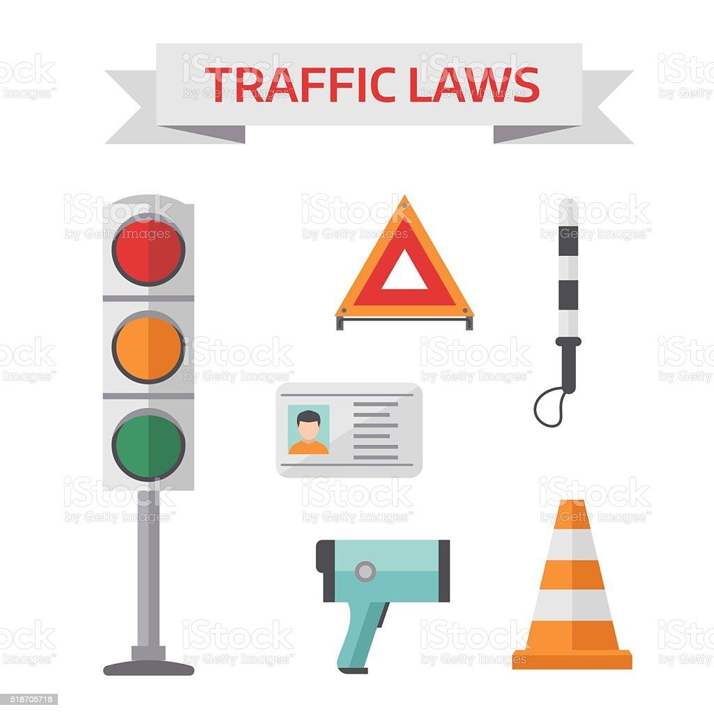 Traffic road police symbols set flat elements isolated vector illustration vector art illustration
