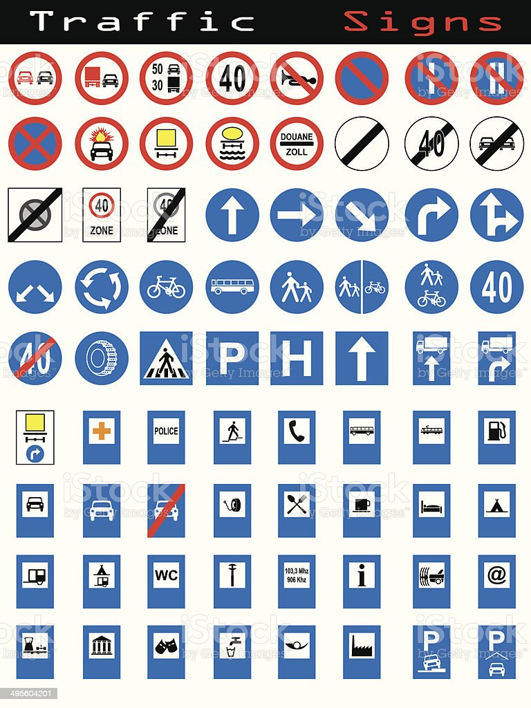 Traffic sign collection 1 vector art illustration