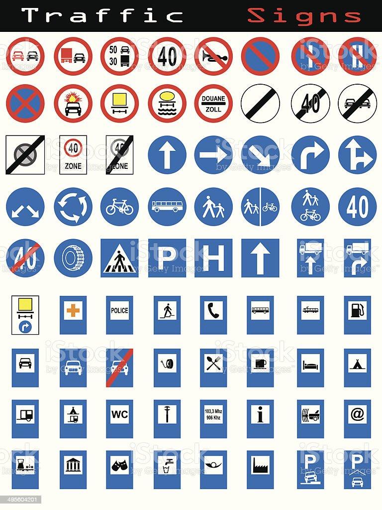 Traffic sign collection 1 vector art illustration