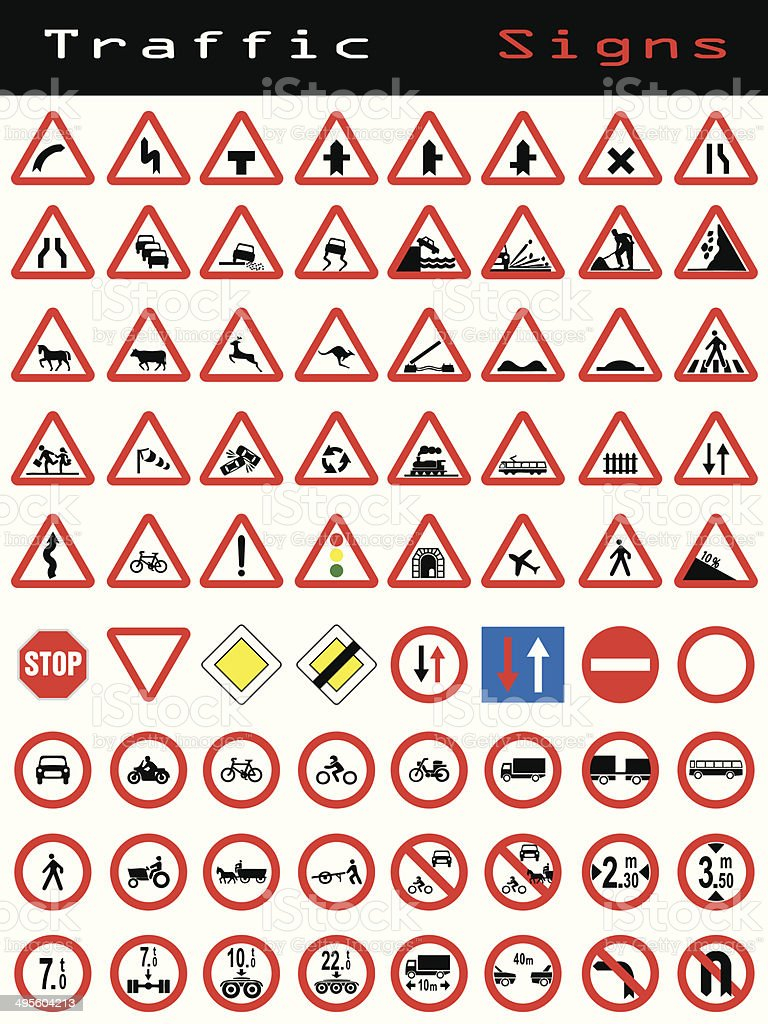 Traffic sign collection 2 vector art illustration
