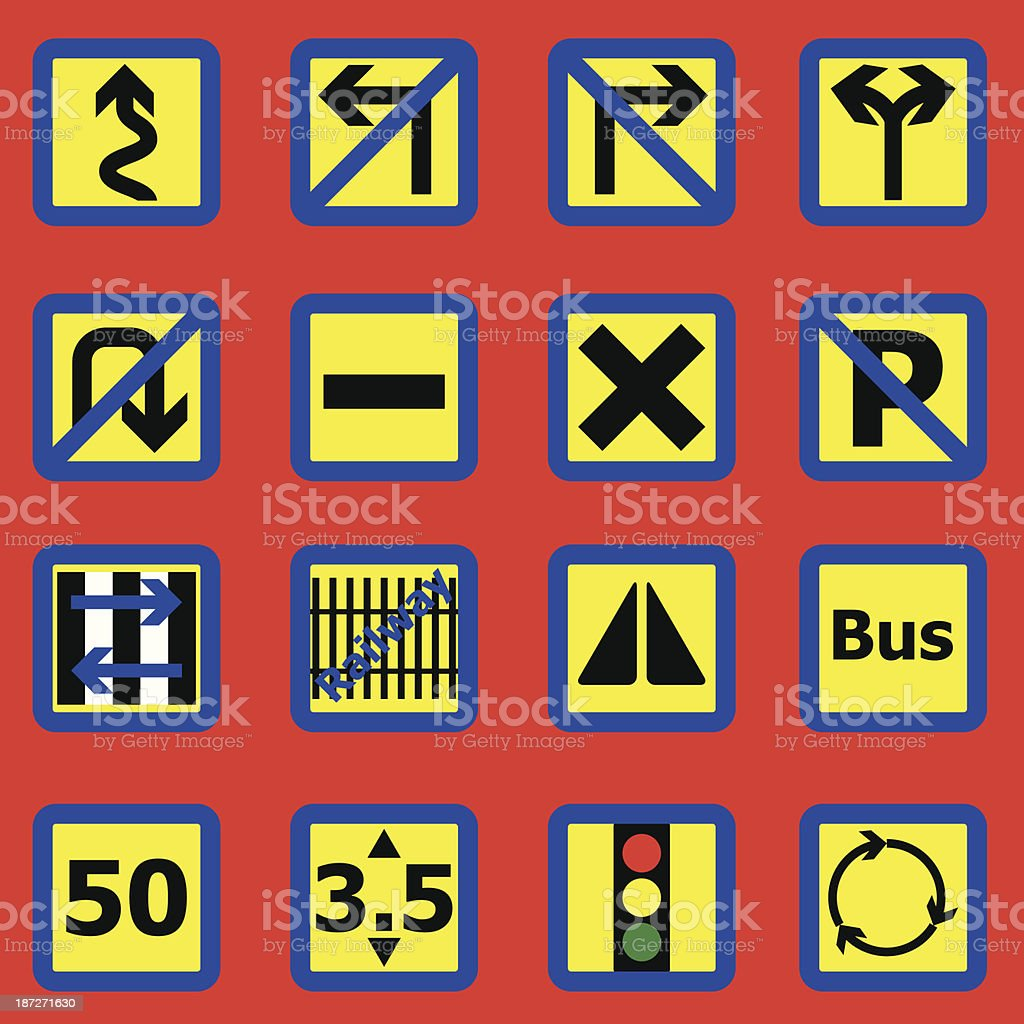 Traffic sign icons on red background royalty-free stock vector art