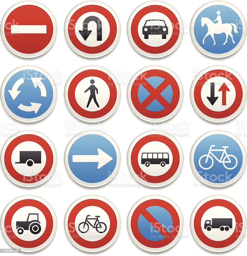 Traffic sign icons vector art illustration