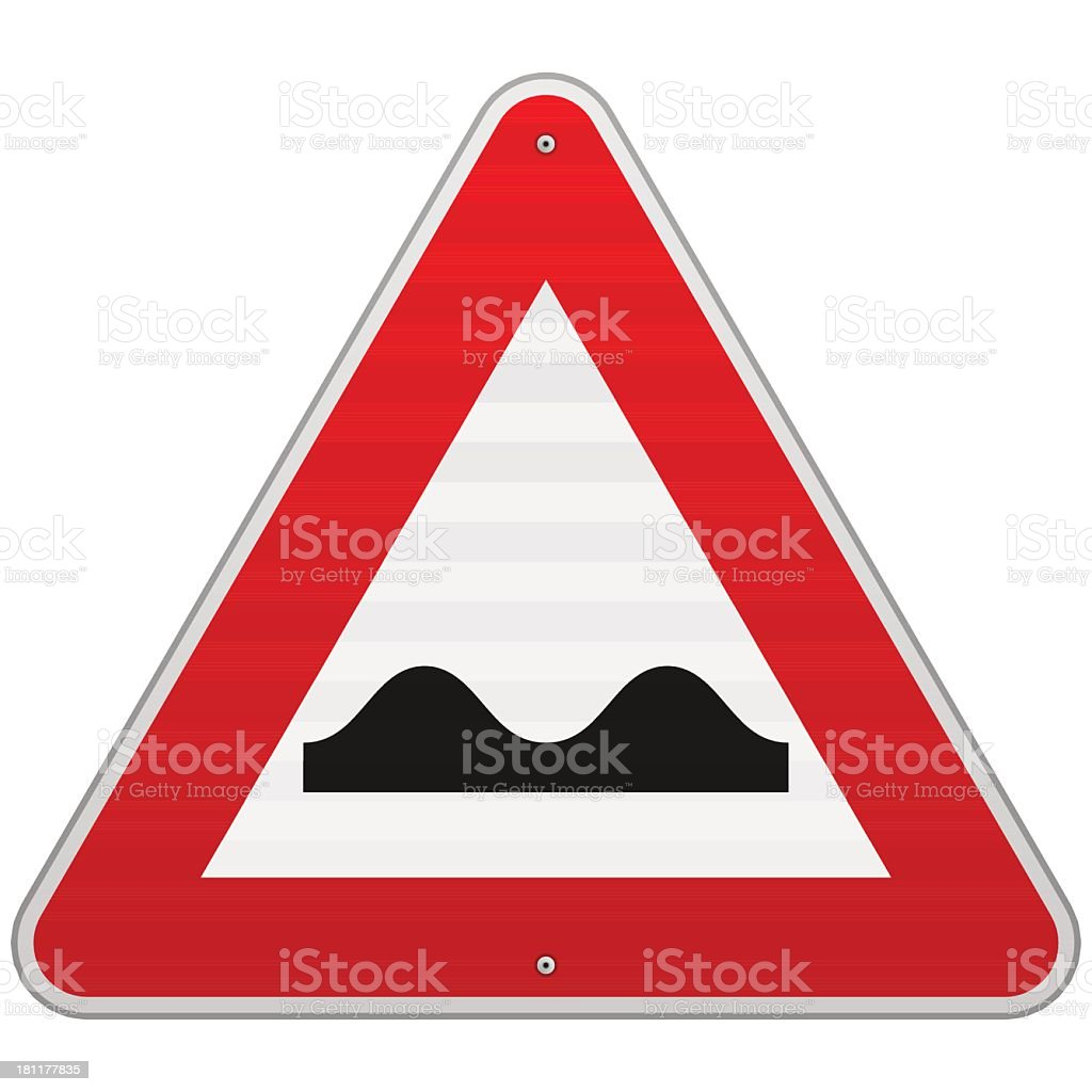 Traffic sign warning speed bumps vector art illustration