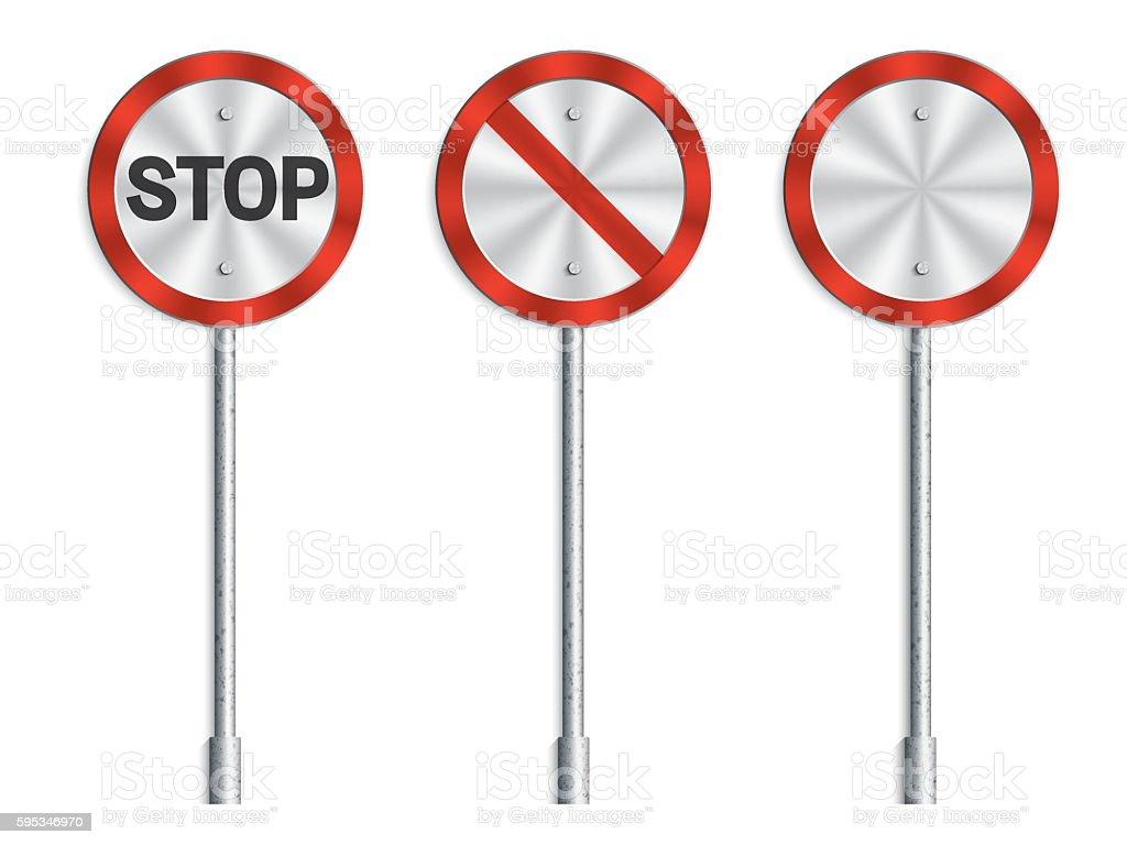 Traffic signs, circle traffic signs vector art illustration