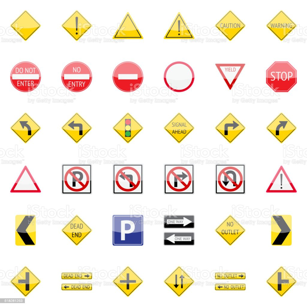 Traffic Signs Collection vector art illustration