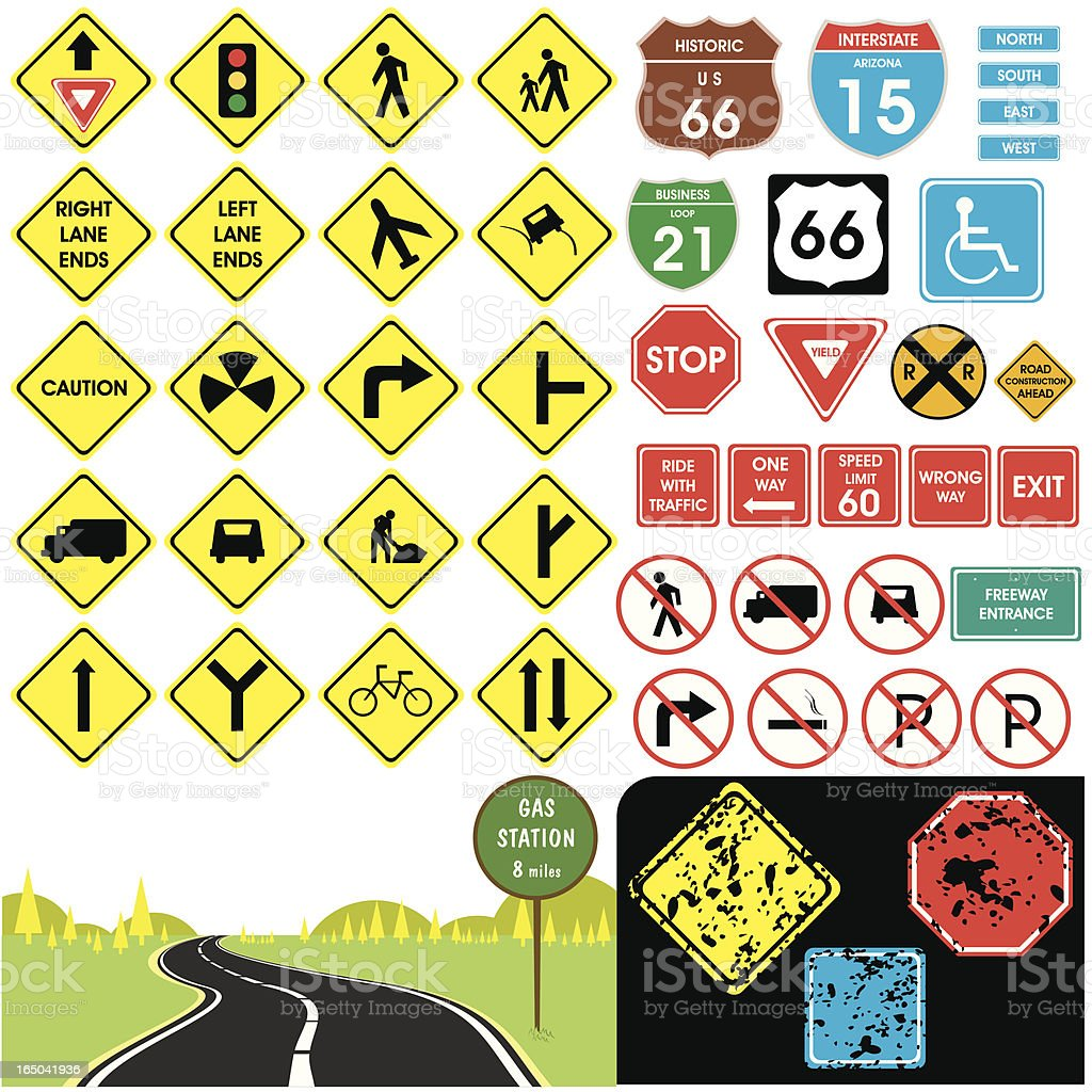 Traffic signs vector art illustration