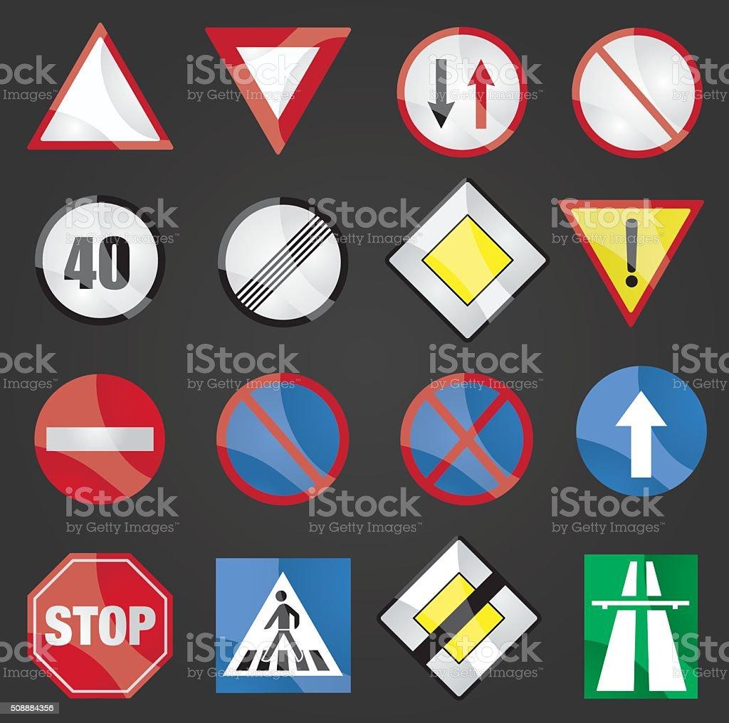 Traffic signs vector art illustration