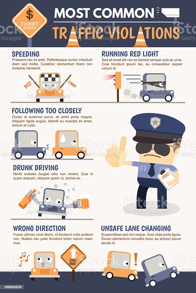 Traffic Violation Infographic vector art illustration