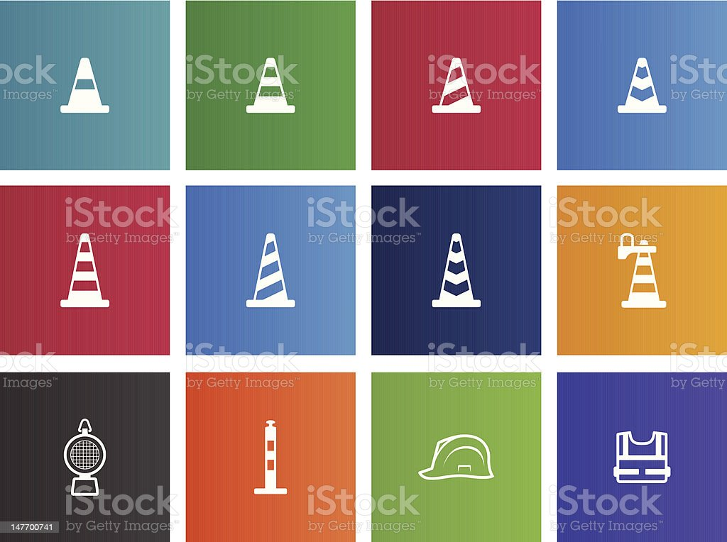 Traffic Warning Sign Icons royalty-free stock vector art
