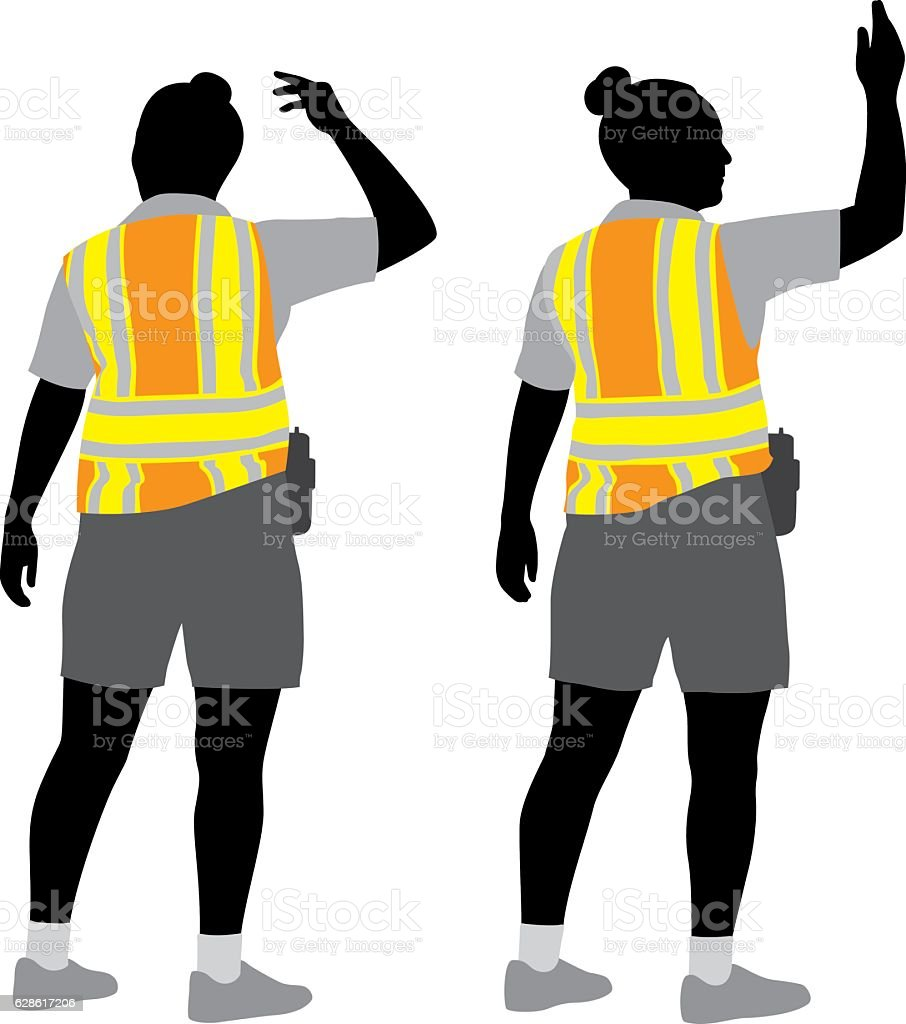 Traffic Woman Silhouettes vector art illustration