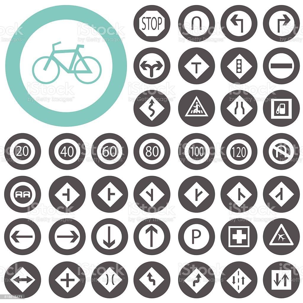 Traffic-Road Sign Collection icons set. Illustration eps10 vector art illustration