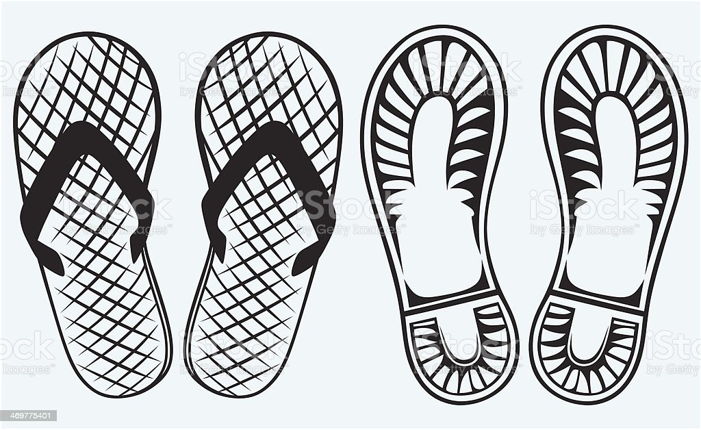 Trail boots and Flip Flop royalty-free stock vector art