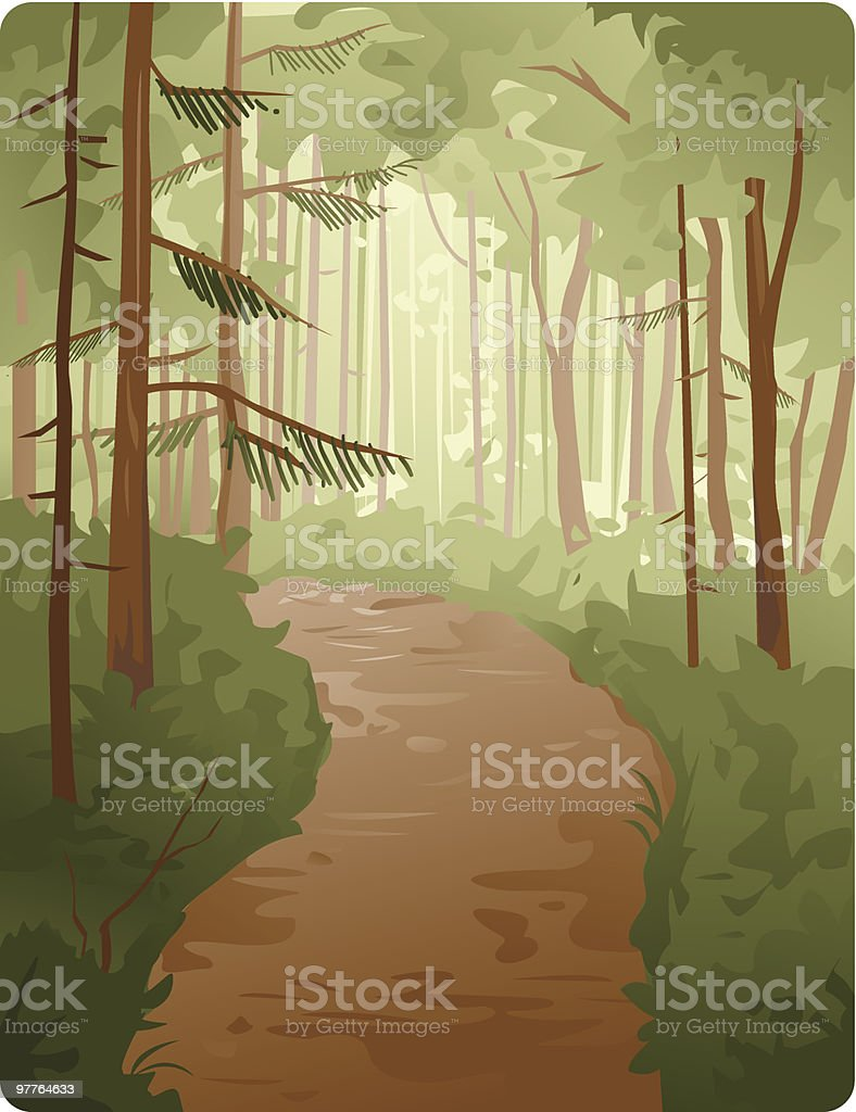 Trail landscape vector art illustration