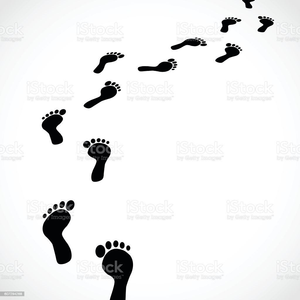 Trail of human bare footsteps isolated on white background vector vector art illustration