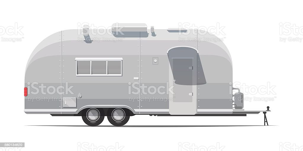 trailer for tourism retro vector art illustration