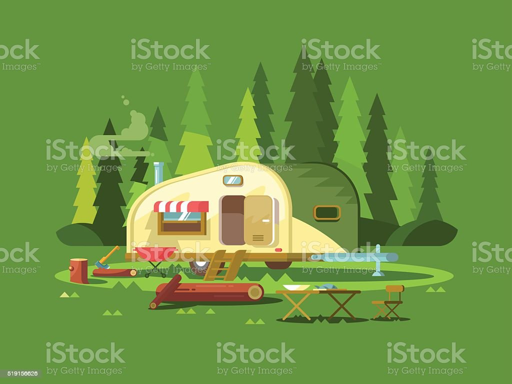 Trailer for travel in forest vector art illustration