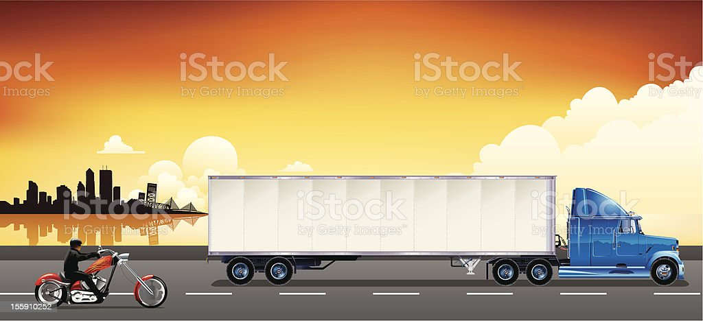 Trailer truck and motorcycle vector art illustration