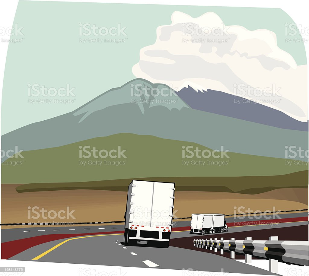 Trailer truck on road royalty-free stock vector art