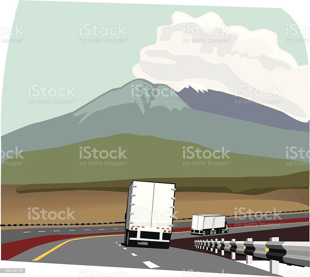 Trailer truck on road vector art illustration