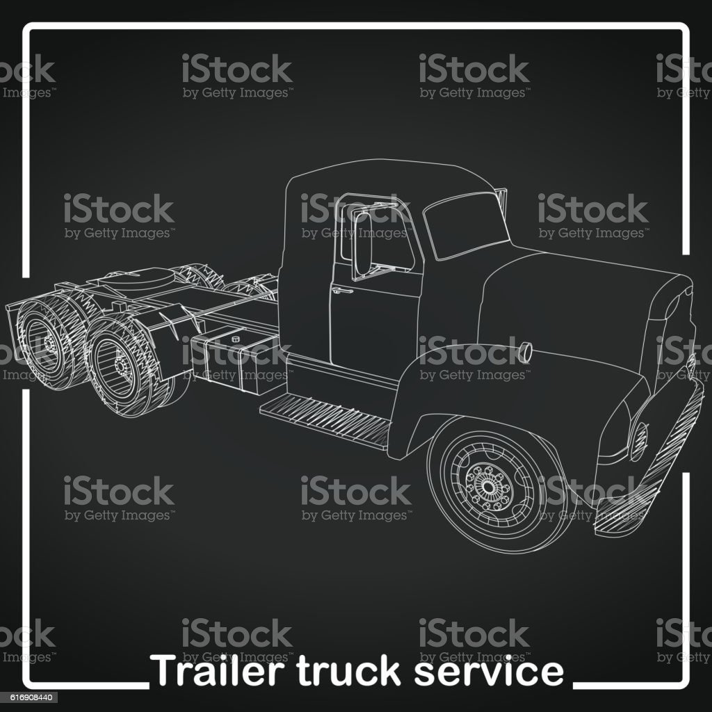 Trailer Truck stripe line vector art illustration