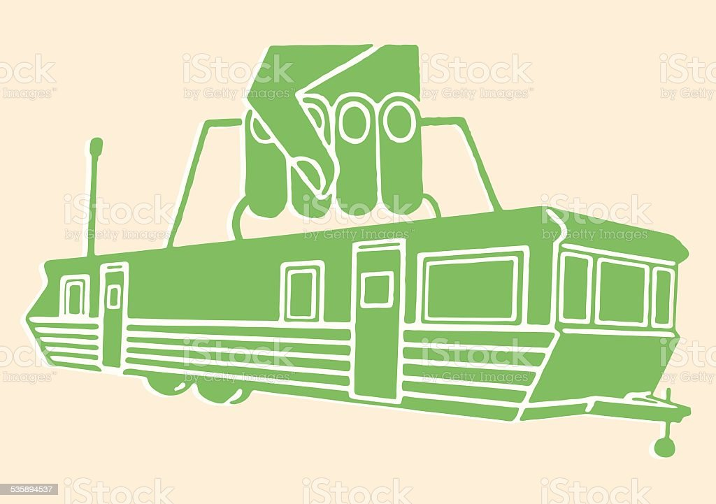 Trailer with Handle Being Picked Up vector art illustration
