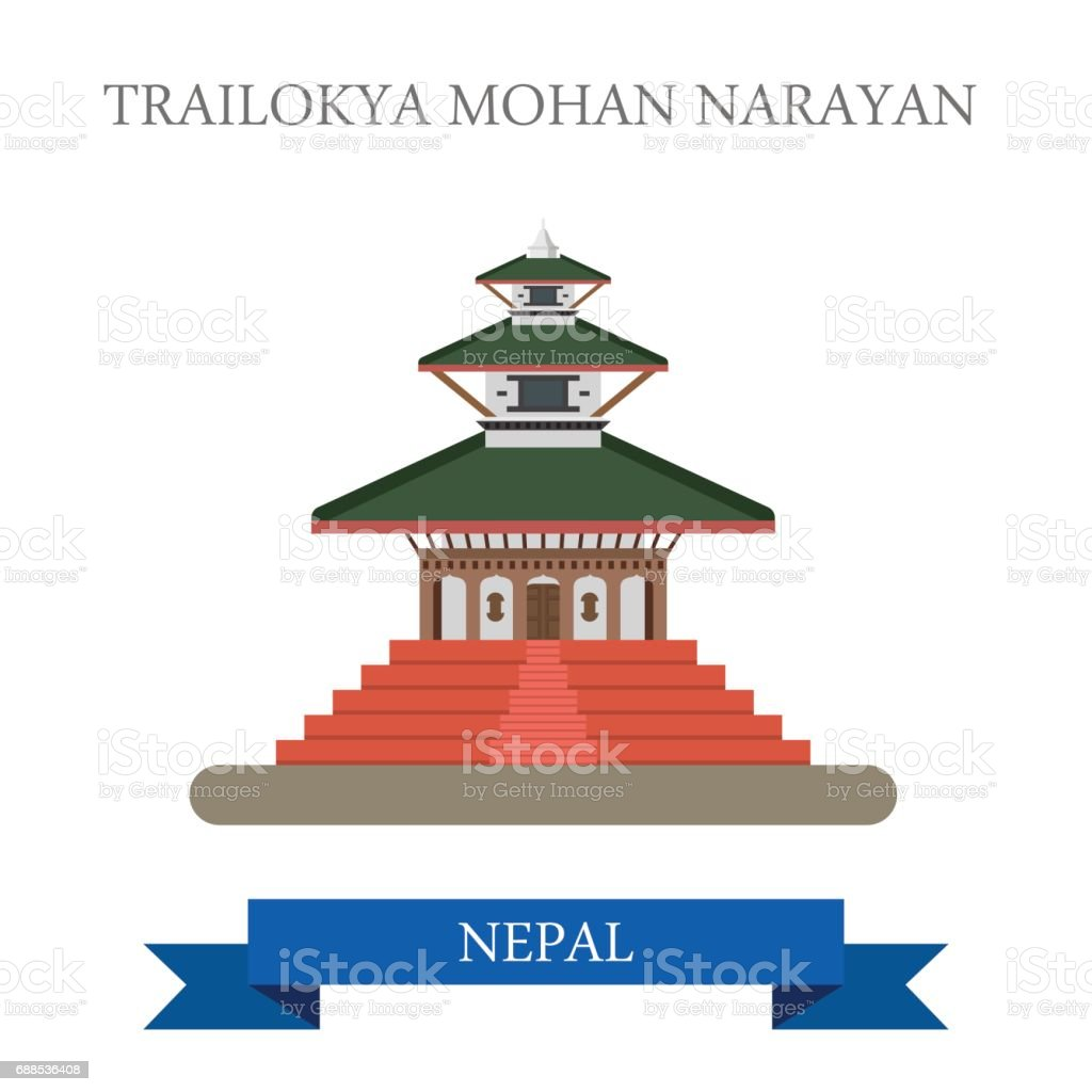 Trailokya Mohan Narayan Temple in Nepal. Flat cartoon style historic sight showplace attraction web site vector illustration. World countries cities vacation travel sightseeing Asia collection. vector art illustration