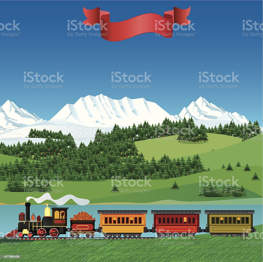 Train and landscape royalty-free stock vector art