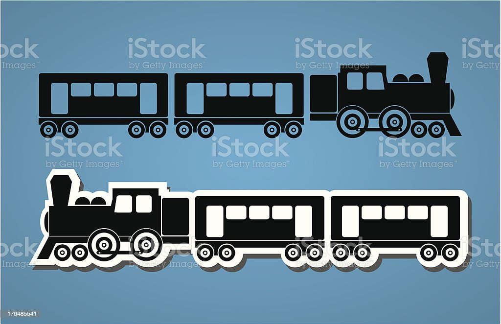 Train and wagon silhouets royalty-free stock vector art