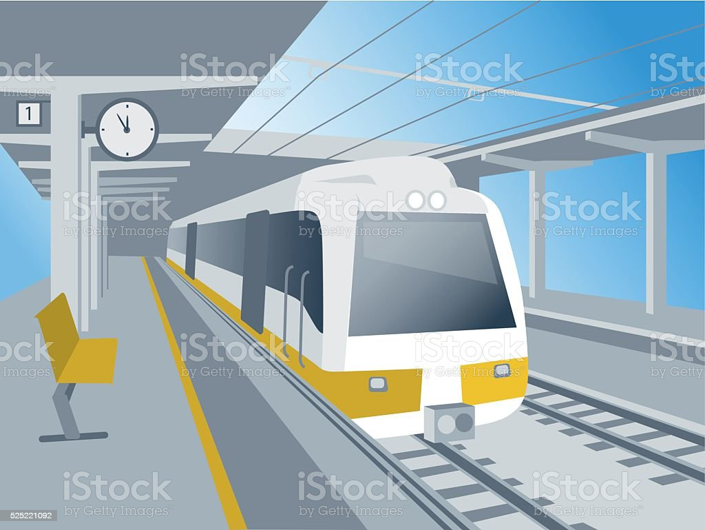 Train at the station vector art illustration