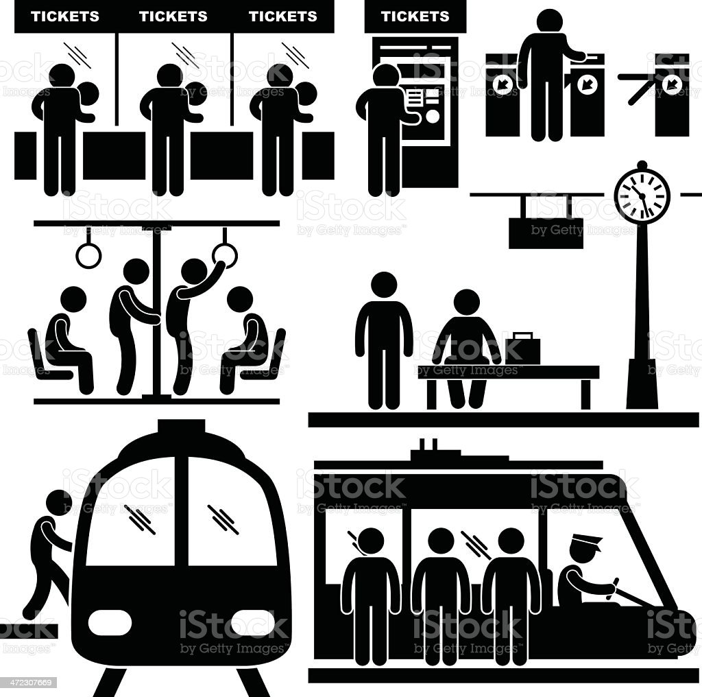 Train Commuter Station Subway Pictogram vector art illustration