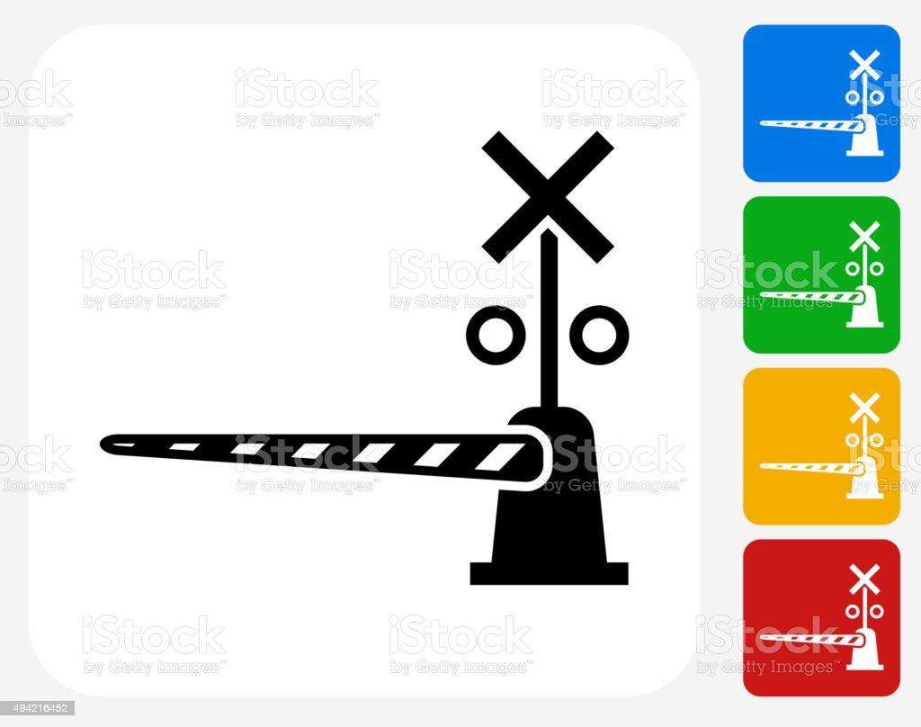 Train Crossing Icon Flat Graphic Design vector art illustration