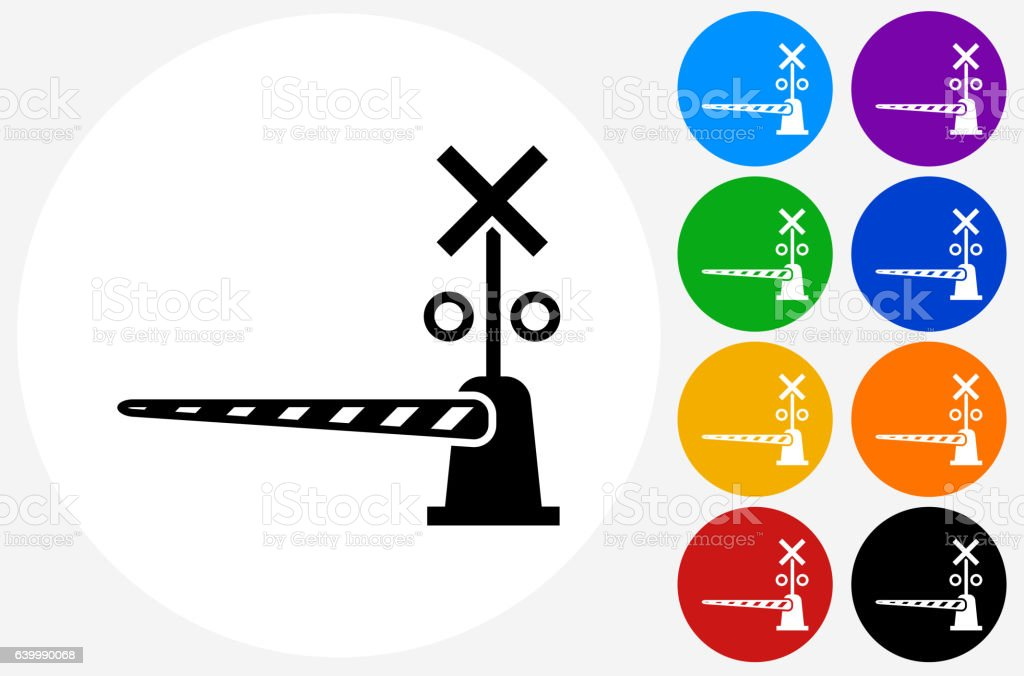 Train Crossing Icon on Flat Color Circle Buttons vector art illustration
