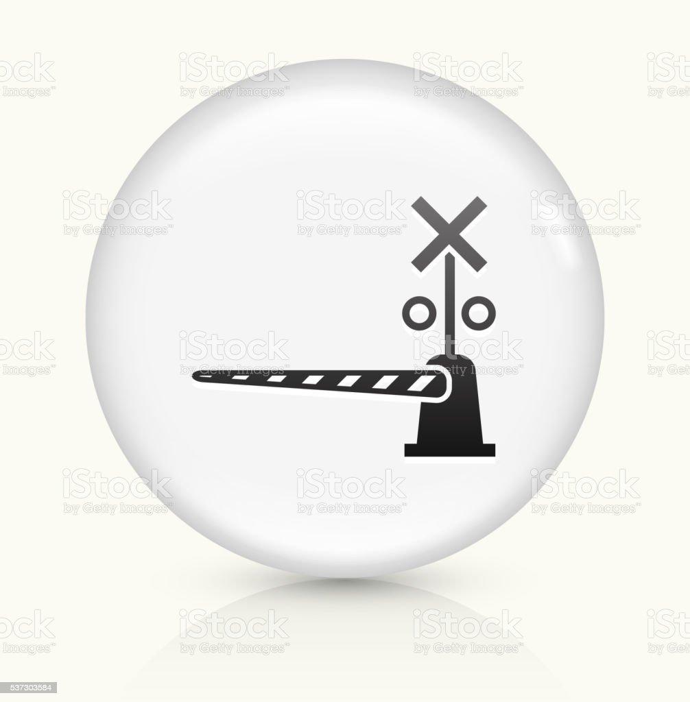 Train Crossing icon on white round vector button vector art illustration