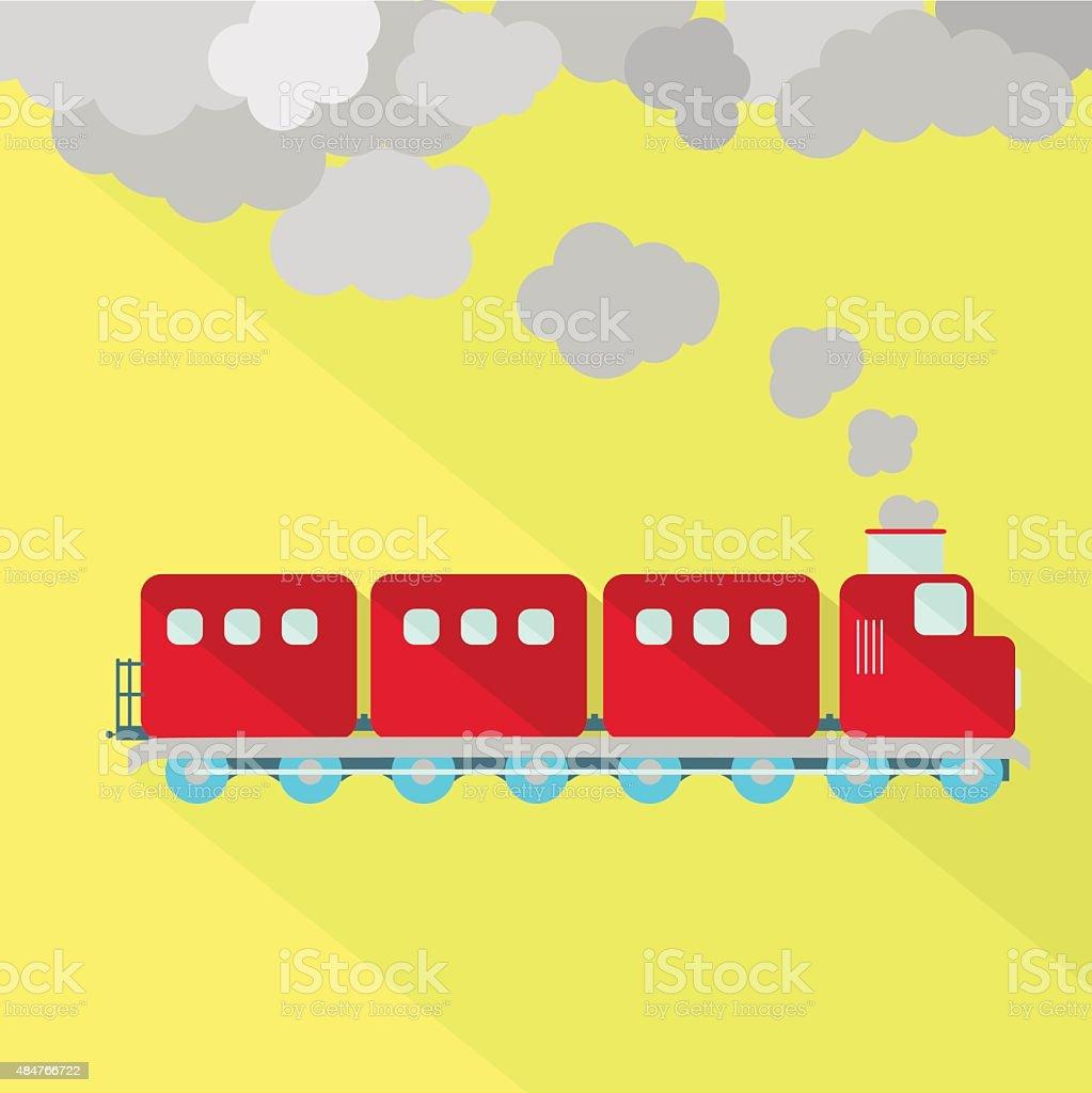 Train fuming vector art illustration