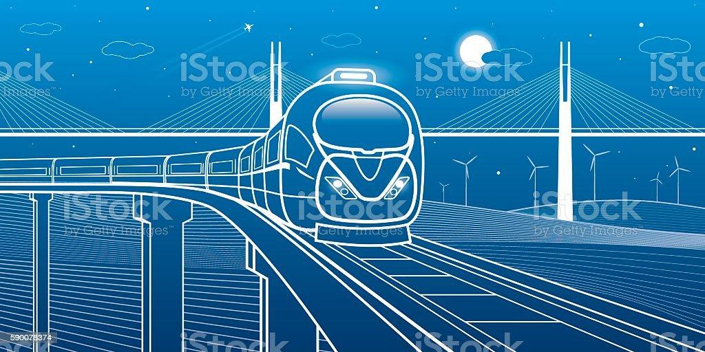 Train goes over the bridge on the background bridge and turbines, transportation vector art illustration
