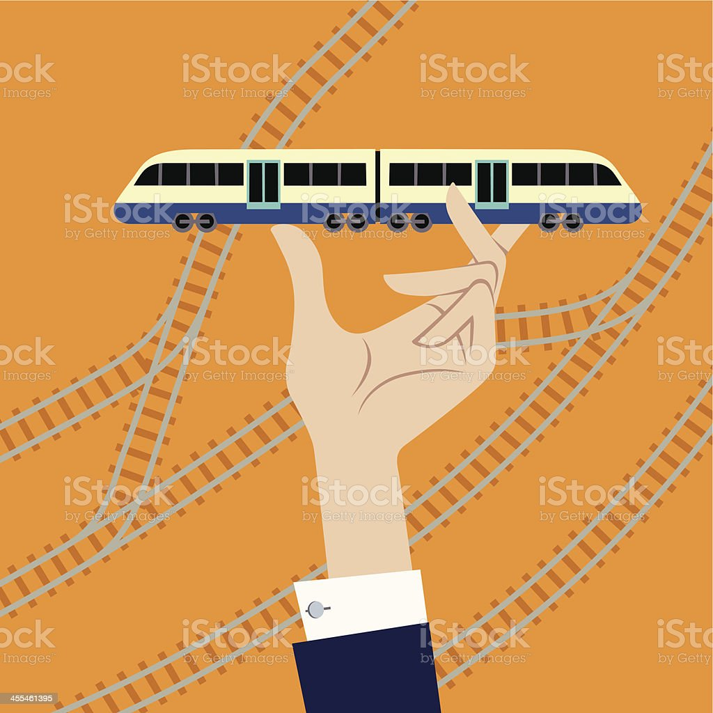 Train in Hand. royalty-free stock vector art