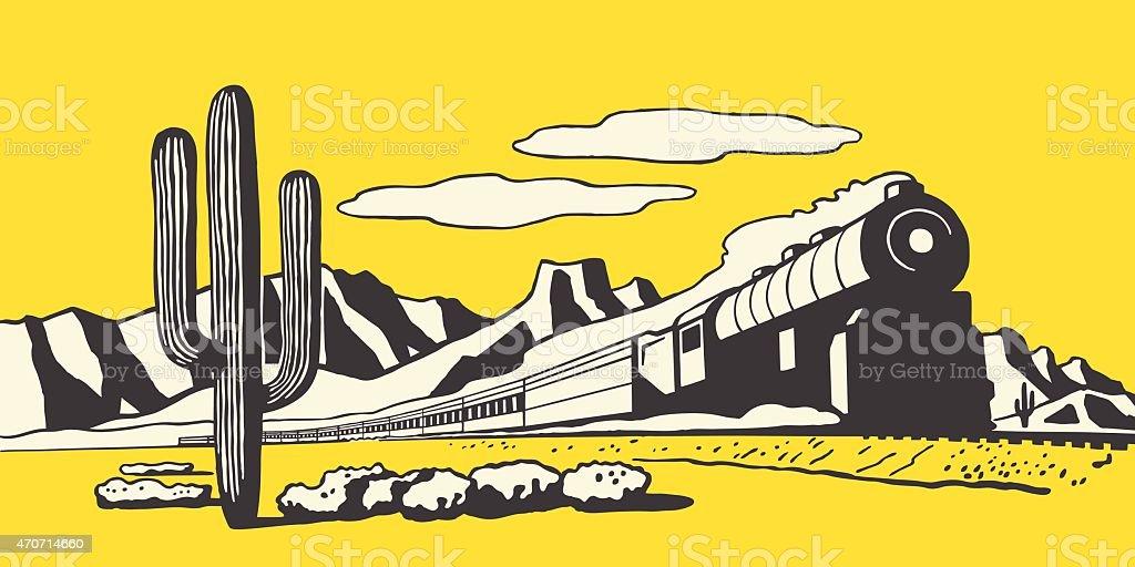 Train in the Desert vector art illustration