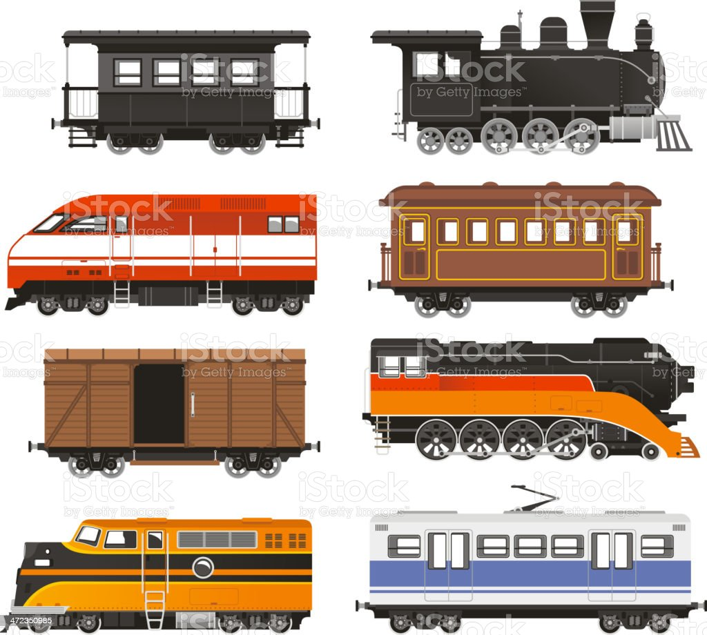 Train Locomotive Transportation Railway Transport vector art illustration
