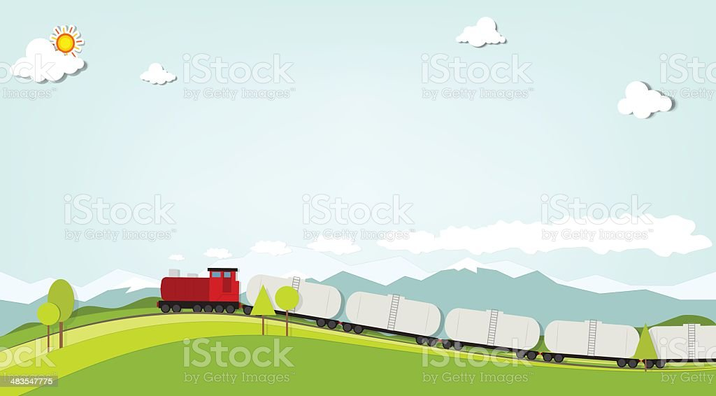 Train on a background of mountains royalty-free stock vector art