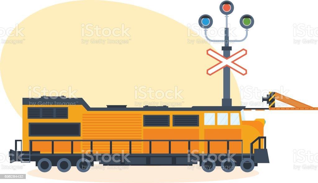 Train on railway, on street of city. Vector illustration isolated vector art illustration