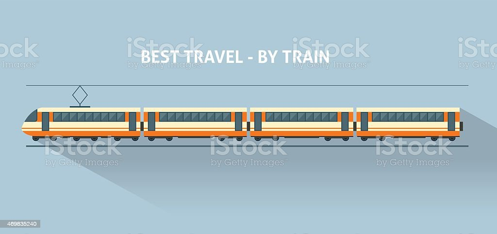 Train on railway vector art illustration