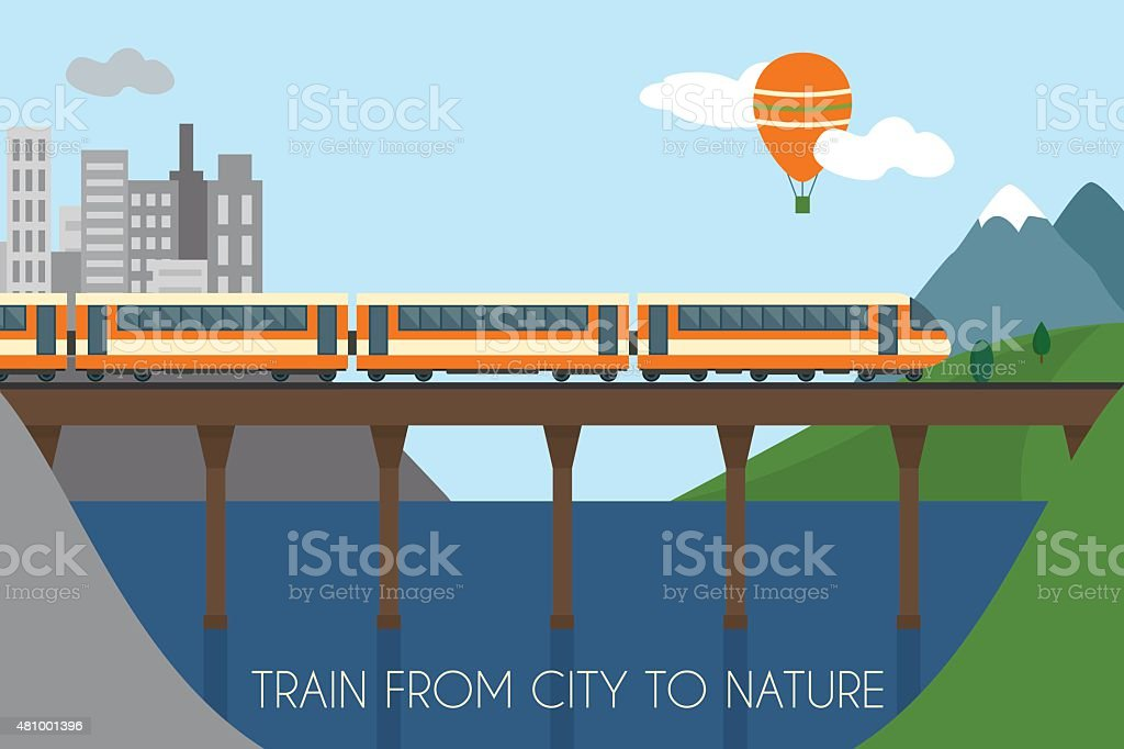 Train on railway vector art illustration