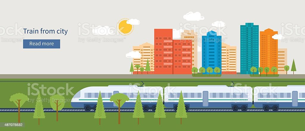 Train on railway with city background vector art illustration
