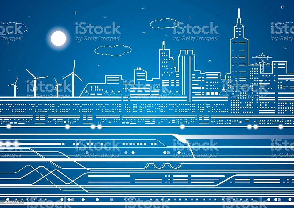 Train on the background of the light city vector art illustration