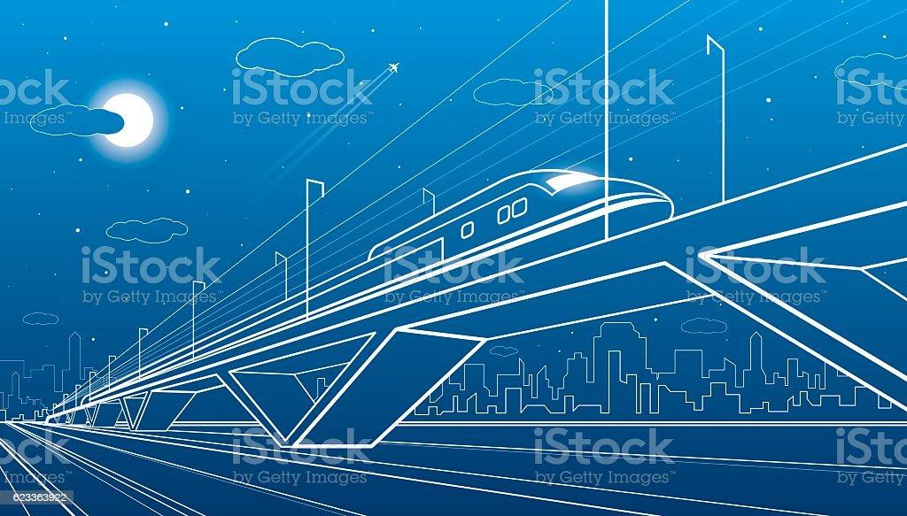 Train on the bridge, dynamic composition, industrial and transport illustration vector art illustration