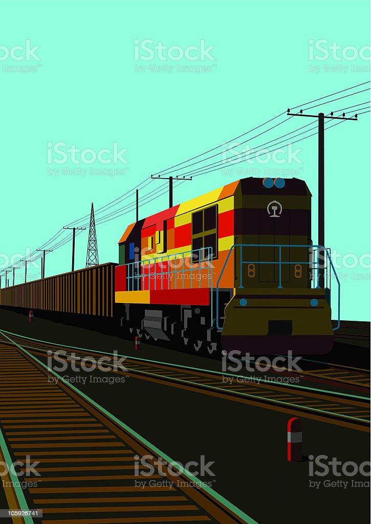 train on way royalty-free stock vector art