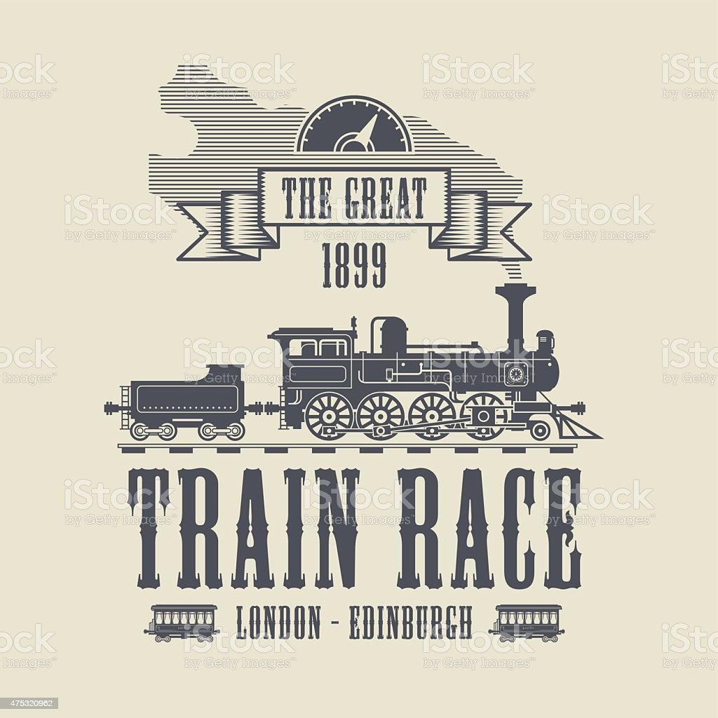 Train Race abstract vector art illustration
