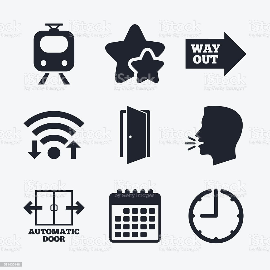 Train railway icon. Automatic door symbol. vector art illustration