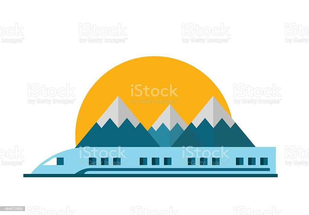Train, Railway with mountain landscape. vector art illustration